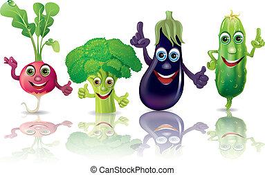 divertido, rábanos, vegetales, pepino, bróculi, berenjena