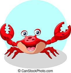 divertido, sonrisa, lindo, cangrejo, caricatura
