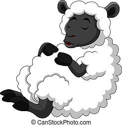 divertido, sueño, sheep, caricatura