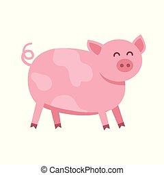 Divertido vector de cerdo plano ilustración aislada en el fondo blanco. Lindo personaje de dibujos animados de animales de granja.