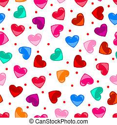 Divertido y colorido patrón del corazón sobre el negro