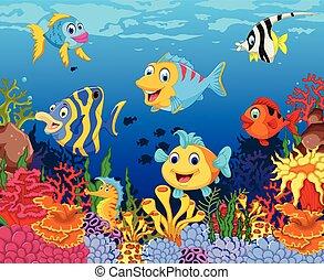 Divertidos dibujos de peces con vida marina