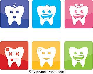 Divertidos iconos para dentista pediátrico