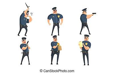 Divertidos personajes de dibujos animados de policías masculinos, oficiales de seguridad pública en uniforme posando en diferentes situaciones de ilustración vectorial