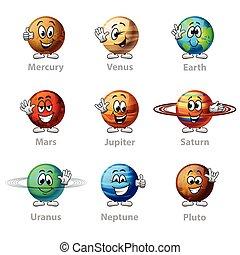 Divertidos planetas de dibujos animados vectores de iconos