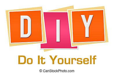 DIY - hacerlo usted mismo bloques de naranja rosa
