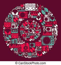 dj, disco, música, iconos