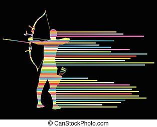 doblando, concepto, arquero, arco, vector, plano de fondo, hombre