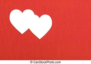 Doble corazón en rojo