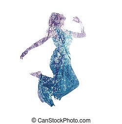 Doble exposición de mujeres saltando con hojas