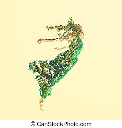 Doble exposición de mujeres volando con hojas