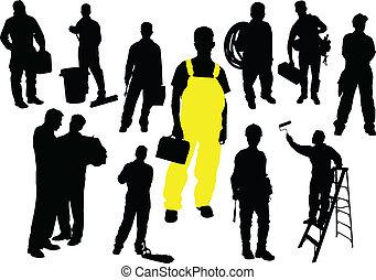 Doce personas siluetas. Trabajador