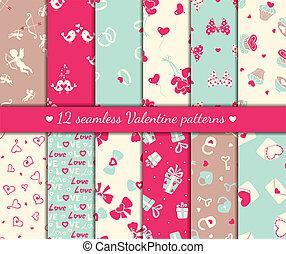 doce, valentines, seamless, patrones