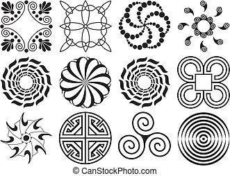 doce, y, elemento, diseño, negro, blanco