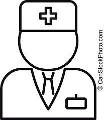 doctor, contorno, estilo, hospital, icono