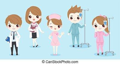 Doctor de dibujos animados con paciente