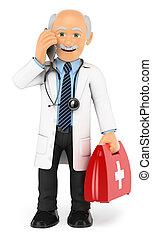 Doctor en 3D hablando por teléfono móvil