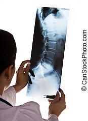 Doctor en el hospital con rayos X