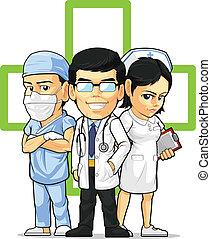 Doctor, enfermera y cirujano
