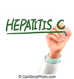 Doctor escribiendo palabras de hepatitis C