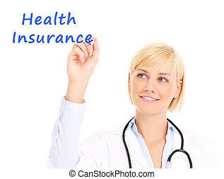 Doctor escribiendo seguro médico