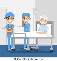 Doctor explicando el diagnóstico a su paciente en el hospital