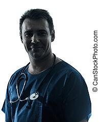 Doctor hombre silueta retrato