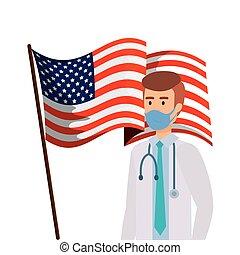 doctor, macho, estados unidos de américa, máscara, cara, bandera