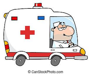 Doctor manejando ambulancia