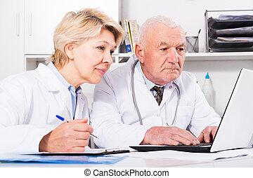 doctor, oficina, enfermera