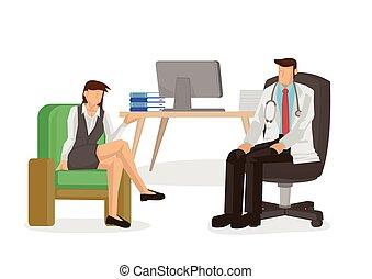 doctor, paciente, consulta, hablar, concept., hospital., médico