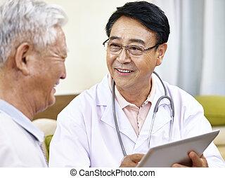 doctor, paciente, hablar, asiático