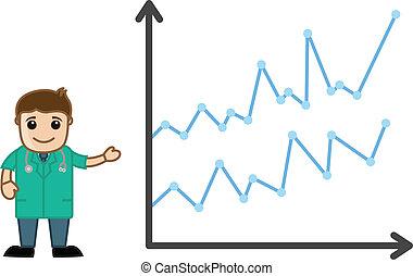 Doctor presentando estadísticas médicas
