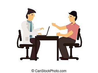 doctor, tabla, paciente, consulta, hablar, concept., hospital., médico
