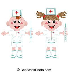 Doctor y enfermera, Cartoon.