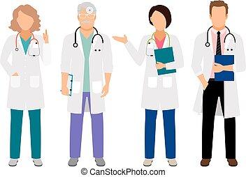 Doctor y enfermeras con batas blancas