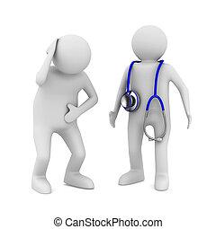 Doctor y paciente de fondo blanco. Imagen 3D aislada