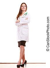 Doctora médica con estetoscopio. Salud