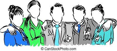 Doctores vector de ilustración del personal médico