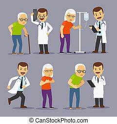 Doctores y ancianos, medicina para la ilustración de vectores de los ancianos