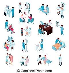 Doctores y enfermeras en un set isometrico