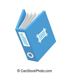 Documento 3D icono, objeto de papel azul, ilustración Vector
