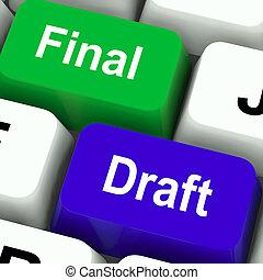 documento, exposición, llaves, rewriting, bosquejo, redacción, final