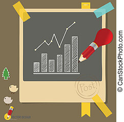 Documentos con gráficos de dibujos. Ilustración de vectores.