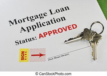 Documentos de préstamo de bienes raíces para la firma