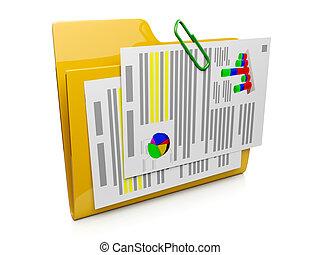 documentos, sistema, computadora, operar, carpeta, icono, 3d