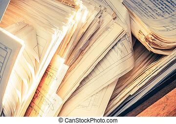 Documentos sucios de papel
