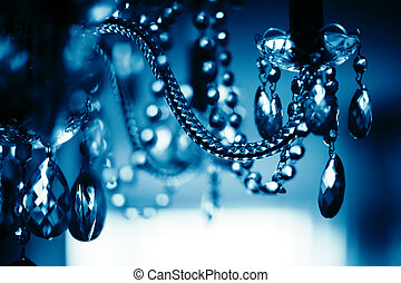 dof., resumen, superficial, chrystal, fondo., araña de luces, primer plano