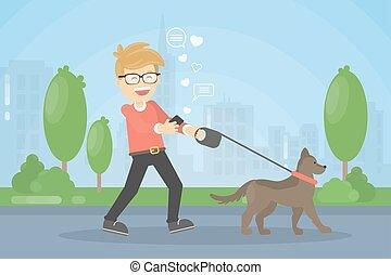 dog., ambulante, hombre