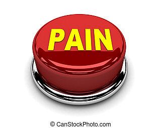 dolor, botón, parada, empujón, rojo, 3d